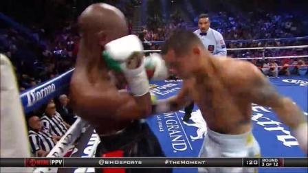 拳王梅威瑟罕见被教育,被逼到角落里痛揍,暴打长达2分钟!