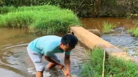 农村小伙带着网来河边抓鱼,刚下去就有收获了,真令人羡慕!