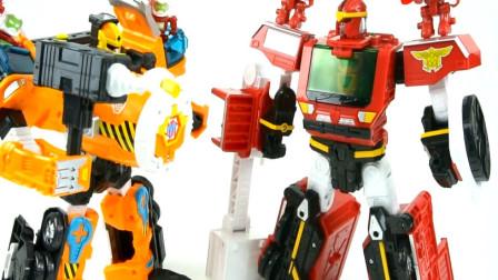 工程车消防车变形金刚机器人对比玩具 亲子益智