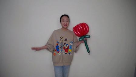 气球玫瑰花长条魔术街卖创意小造型气球玫瑰花编织入门基础简单教程教学