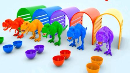 霸王龙吃了各种蔬菜水果变颜色 趣味动画