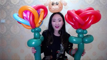 长条魔术气球大玫瑰花街卖创意小造型气球编织入门基础简单教程教学