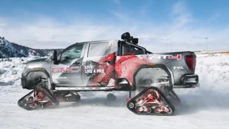 能在冰封的雪山地上飞奔的汽车2020 GMC.mp4