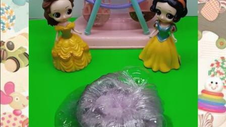 白雪公主教贝尔玩水晶泥,真是太好玩了