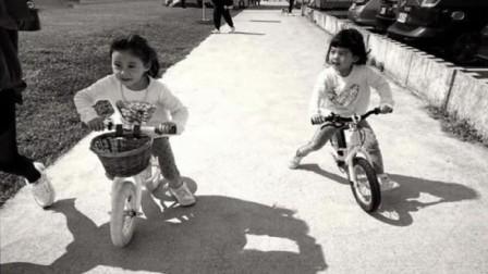 咘咘bo妞骑单车,跌跌撞撞玩超嗨,贾静雯:奔跑嬉闹是杀菌良药