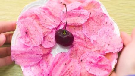 粉嫩的樱花薯片,酥脆好吃无添加,满足你的少女心~