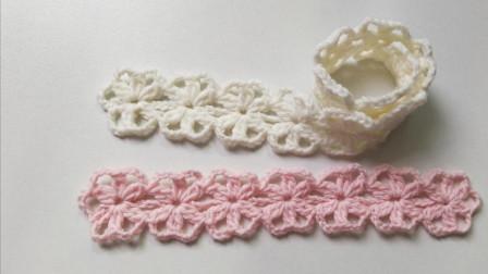 简单的图解学习,清新花朵装饰带,可做发带,钩针编织新手教程