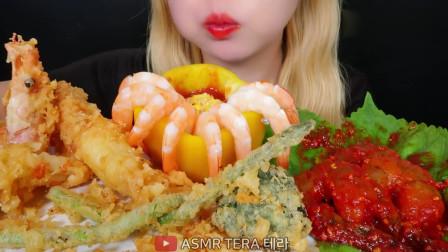 吃货小姐姐:小姐姐吃各种大虾,看着让人流口水