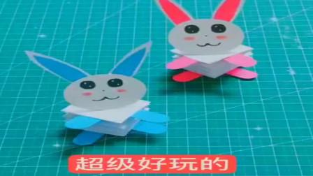 简单快乐折纸—可爱的弹簧兔子