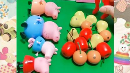 小猪佩奇一家在吃水果,小朋友认识几样呢?