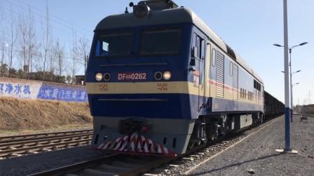 轮轨声 DF8B牵引空敞车安阳城正线停车 矿务局专线