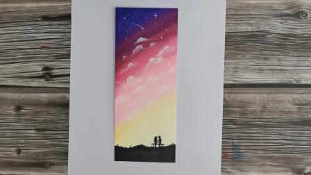 情侣星空狗粮图来了,教你马克笔轻松画人物,2分钟画出最美作品