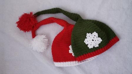 第53集 大小宝手工 宝宝圣诞节雪花帽子 diy手工编织视频教程,大毛球长尾巴太可爱了