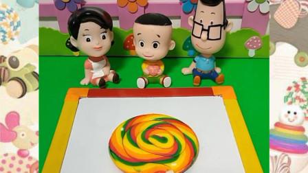 大头儿子画了一个大棒棒糖,还有一个大雪糕!