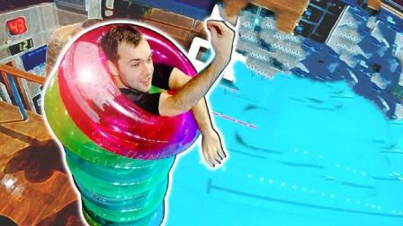 在身上装上10个游泳圈,再进行高台跳水会怎样呢?网友:信仰之跃