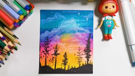 超级简单的彩色星空,让孩子边涂色边学习颜色,有趣教程快快学起