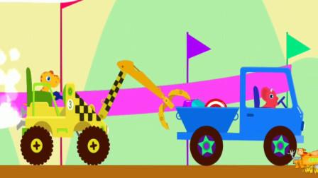 恐龙挖掘机驾驶员,小恐龙驾驶操作夹木机寻宝探险,组装认识工程车