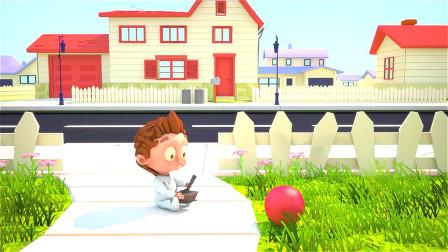 男孩玩游戏上瘾,就连外出打篮球,都想用操控杆去控制!