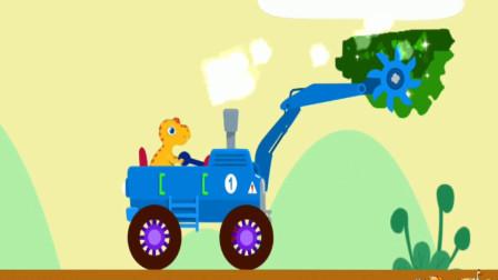 恐龙挖掘机驾驶员,小恐龙驾驶操作切割机工程车寻宝探险,组装认识工程车