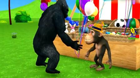 动物动漫 大猩猩购买的气球被大象 狮子 长颈鹿扎破了
