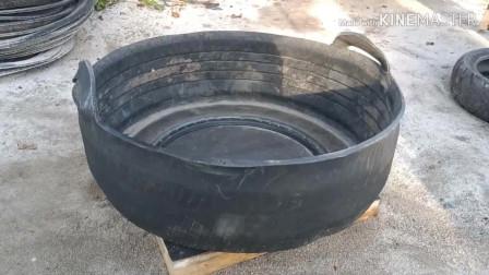 废旧的轮胎不要扔,切开做成水盆,能用好多年