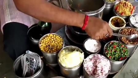 印度路边摊的美食,美食各种丰富的配料,让你眼花缭乱