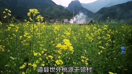 湖南道县'世外桃源'干岭村,都庞岭青山秀水怀抱油菜花开,犹如仙境般美丽。