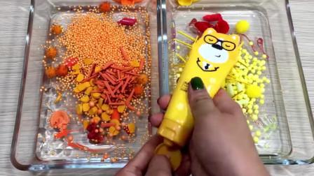 橙色黄色双色系史莱姆,小黄人彩泥+水果彩泥+指甲油+睫毛膏等