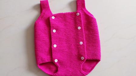 毛线编织手工儿童连体裤,喜欢就照着视频学习织一款