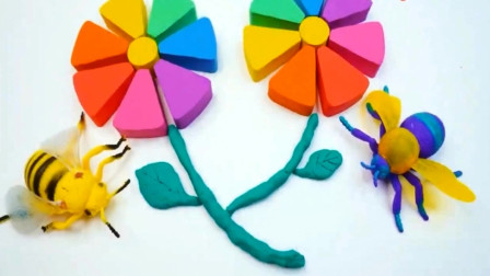用彩泥制作花朵 边制作边学习颜色与数字英语
