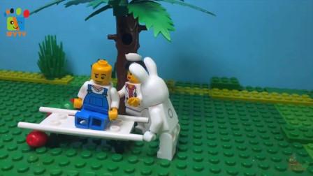 乐高玩具 小顽皮抓兔子不成反被苹果砸 儿童学英语数字12345