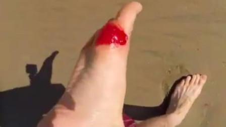 男子海中漫步,脚底突然传来一阵剧痛,将镜头放慢50倍发现真凶!