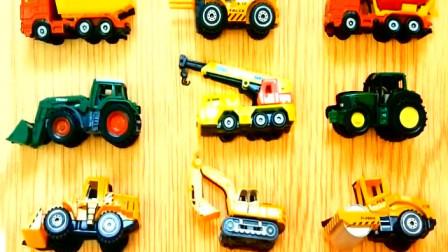 为儿童学习汽车工程车名称 自卸卡车 垃圾车 推土机 挖掘机