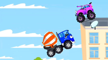 搅拌车刚买的气球就被越野车给扎破了,你给我等着!汽车总动员游戏