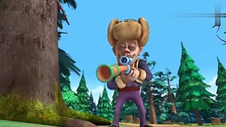 熊出没光头强朝熊熊开枪,就是打不中,还是回去练练吧