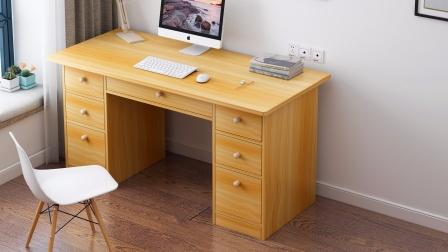 电脑桌A130S两门五抽