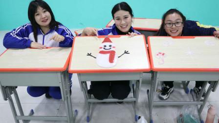 学霸王小九校园剧:老师和同学们用牛奶黏土做雪景,王小九做出了小雪人,无硼砂好看