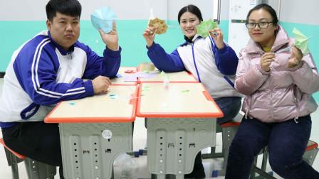 学霸王小九校园剧:老师学习用卡纸做伞,没想老师竟这么厉害,做的比王小九还好看