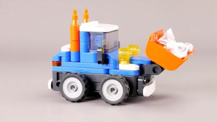 积木推土机变身扫地机器人,太会玩了