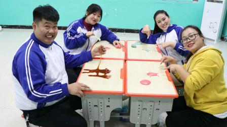 学霸王小九校园剧:同学们用无硼砂泥做卡通人物,没想男同学做了一个猪八戒,真厉害