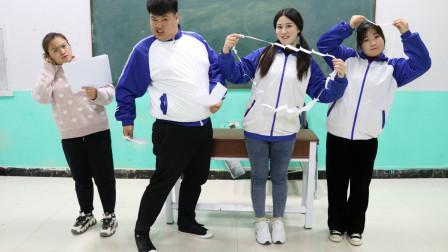 学霸王小九校园剧:把A4纸撕成圈圈穿过身体,老师做不到,没想女学霸一招解决!