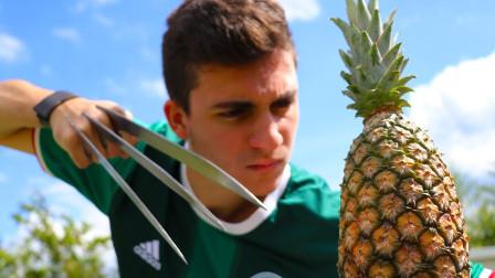 金刚狼爪有多牛?砍向菠萝的一瞬间,震撼才刚刚开始!