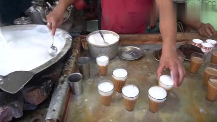 印度最火爆的丝袜奶茶,制作简单,一次十几杯都不带停的!