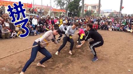 农村女子拔河比赛,大家都使出了吃奶的力气,黄队非常霸气!