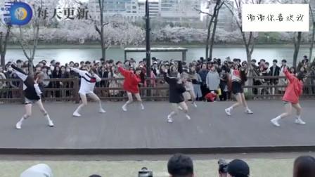 日本樱花节无意拍下女子组合辣舞,颜值节奏都有了