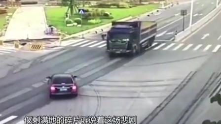 监控车祸:不压在十字路口随意停车减速,后果不堪设想!