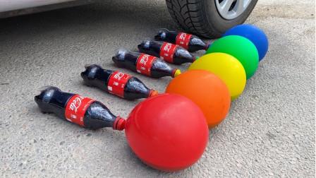 牛人脑洞大开,驾车碾压可乐和气球,下场简直不要太惨!