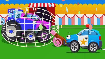 越野车和拖拉机鹬蚌相争,小警车坐收渔翁之利!汽车总动员游戏