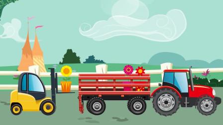 工程车趣味动画 货车和叉车运送雪球 要送往哪里去呢
