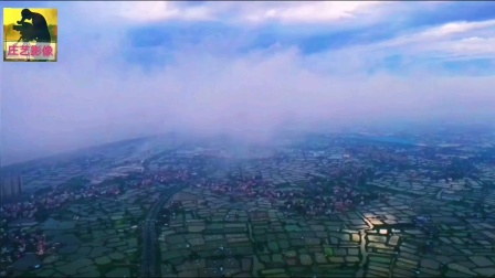 佛山市南海区九江镇渔乡云雾缭绕景色
